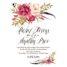 Bohemian Floral Wedding Invitations by Emily Crawford | Elli
