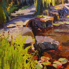 The Footbridge at Bloedel plein air, oil. landscape painting by Robin Weiss, painting by artist Robin Weiss