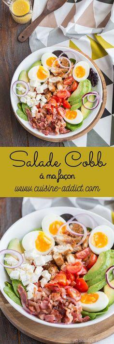 Salade Cobb au poulet - Salade Cobb à ma façon - Lunch Recipes, Low Carb Recipes, Salad Recipes, Diet Recipes, Healthy Recipes, Clean Eating, Healthy Eating, Ensalada Cobb, Lean Cuisine