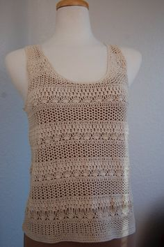 Crochet Tank Top Textured in natural cotton thread by LoyesThread, $50.00