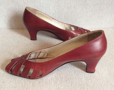 CALZADOS LUCCHI Burgundy Red Pumps Size 7 Peep Toe Women Shoes Casual Career #CALZADOSLUCCHI #PumpsClassics #WearToWorkSpecialOccasionCasual