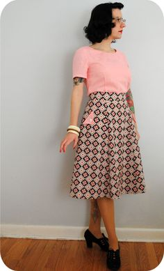 Finished: 1940s Simplicity diamonds skirt & Sewaholic Alma blouse | by gum, by golly! #sewing #vintage