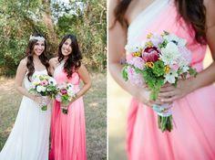 Pink One Shoulder Ombre Bridesmaid Dress