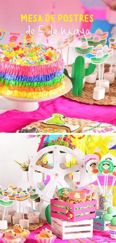 Este tip te enseñará paso a paso como poner una mesa de postres para tener una increíble fiesta mexicana llena de color este 5 de mayo. Te encantará el poder hacer galletas, cupcakes, pasteles y decoraciones divertidas y coloridas encantarán a todos los invitados. Fiestas Party, Ideas Para Fiestas, 21 Bday Ideas, Mexico Party, Mexican Bridal Showers, Mexican Birthday Parties, Mexican Babies, Mexican Crafts, Cowboy Party