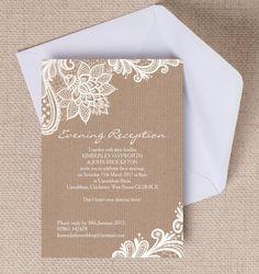 Top 10 Printable Evening Wedding Reception Invitations - Rustic Lace