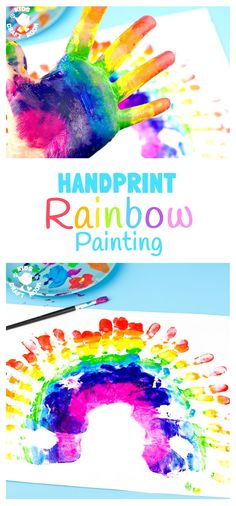"""HANDPRINT RAINBOW PAINTING is a fun sensory art experience for kids. Get """"hands-on"""" with paints and explore colour mixing and blending! A creative painting idea for St Patrick's Day and weather study themes. #rainbowpaint #paintingwithkids #kidspaintprojects #kidsart #kidsactivities"""
