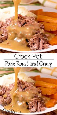 Crock Pot Pork Roast is an easy dinner idea that's perfect for busy weeknights. PLUS it makes plenty of delicious gravy!This Crock Pot Pork Roast is an easy dinner idea that's perfect for busy weeknights. PLUS it makes plenty of delicious gravy! Crock Pot Slow Cooker, Crock Pot Cooking, Slow Cooker Recipes, Easy Crock Pot Meals, Healthy Crock Pots, Slow Cooker Roast, Cooking Bacon, Crockpot Dishes, Pork Dishes
