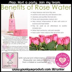Benefits of Rose Water by Younique https://www.youniqueproducts.com/samanthaharmsk