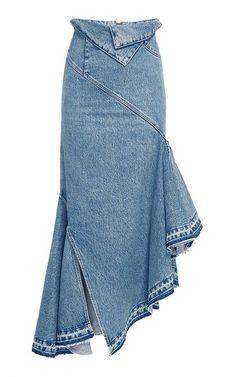 Fold Waist Denim Trumpet Skirt Crafted in cotton, this **Monse** skirt features a high waist, trumpet silhouette, and asymmetrical hem. High Waisted Denim Skirt, Blue Denim Skirt, Waist Skirt, Long Denim Skirts, Jean Skirts, Silk Skirt, Silk Dress, Vintage Skirt, Vintage Denim
