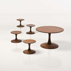Nanna Ditzel; Stained Pine 'Toadstool' Table and Stools, 1963.
