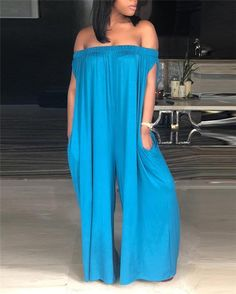 Women Solid Off Shoulder Sleeveless Casual Jumpsuit Jumpsuit Dressy, Plus Size Jumpsuit, Plus Size Mini Dresses, Jumpsuits For Women, Wholesale Clothing, Pattern Fashion, New Dress, Plus Size Fashion, Fashion Outfits