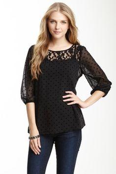 Bobeau Lace Yoke Polka Dot Shirt.  I'd wear something like this for date night.