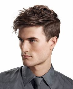 Men's Short Hair Cut - Shaved Cropped Sides w/Strong Part Disconnection on Top - Style Messy Texture