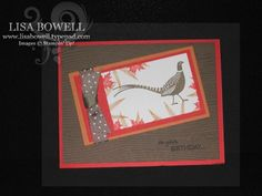 Love this masculine card. Card made by using Stampin' Up! Autumn Days stamp set (retired).  One of my favorite masculine sets! Made by Lisa Bowell-Stampin' Up! Demonstrator @ lisastamps.com
