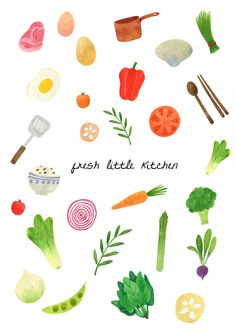 Jiminyoon - Fresh Little Kitchen /// Baby Veggie Free Illustration, Vegetable Illustration, Pinterest Instagram, Food Drawing, Drawing Ideas, Little Kitchen, Fruit Art, Illustrations And Posters, Design Illustrations