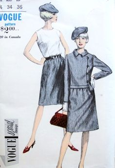 1960s Mod Suit Blouse and Beret Hat Pattern Vogue Special Design 6671 Stylish Side Closing Jacket Sleeveless tuck In Shell Blouse A Shaped Skirt Flirty Beret Hat Vintage Sewing Pattern Bust 34 UNCUT