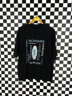 e78166f1a74 YVES SAINT LAURENT Spell Out Tshirt Large Unisex 90's Ysl Pour Homme Paris  Designer Saint Laurent Streetwear Black Tshirt Size L