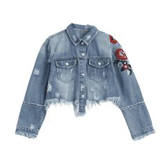Ripped Cutoffs Floral Embroidered Denim Jacket (€28) ❤ liked on Polyvore featuring outerwear, jackets, tops, floral embroidered denim jacket, cut off denim jacket, distressed jacket, blue denim jacket and floral embroidered jacket