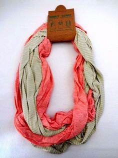Infinity scarf peach beige green stripes double loop cotton jersey Look by M  #LookbyM #CowlInfinity #Casual