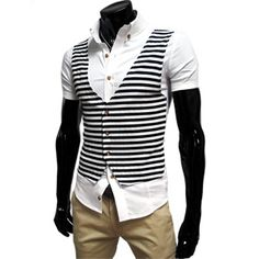 (CE01-WHITE) Mens Casual Vest Layered Short Sleeve Slim Fit Shirts $29.96