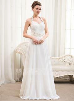 A-Line/Princess Halter Floor-Length Chiffon Wedding Dress With Ruffle Beading Sequins (002054367) - JJsHouse