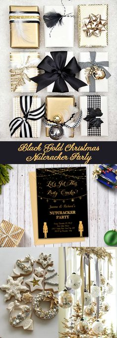Christmas invitation, Christmas party, Nutcracker party invitation, black and gold Xmas party invite, holiday invitation
