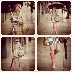 rain, rain (GAP trench + Zara striped dress + J Crew chambray dress + Hunter boots + Celine bag + Karen Walker sunnies) Cute Rainy Day Outfits, Outfit Of The Day, Cute Outfits, Rainy Outfit, Everyday Outfits, Karen Walker, Fashion Nail Art, Pink Rain Boots, Snow Boots