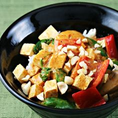Red curry tofu with spinach and mushrooms