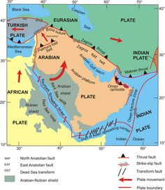 Tectonic plate movements in the Middle East. Study Of Geography, Physical Geography, Physical Science, Tectonique Des Plaques, Earth And Space Science, Plate Tectonics, Science Notebooks, Ap Biology, Middle School Science