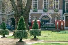 London, England--Telephone booths at Berkley Square