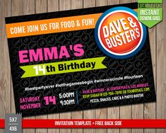 DAVE & BUSTERS Invitation Dave and Busters Invite Editable