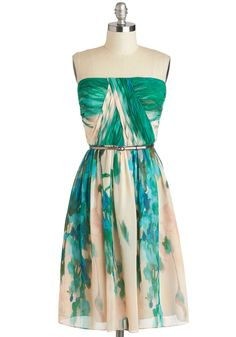 Scenery at Sunset Dress in Forest - Exclusives, Green, Tan / Cream, Print, Belted, Ruching, Party, A-line, Spaghetti Straps, Sweetheart, Wedding, Bridesmaid, Luxe, Summer, Variation