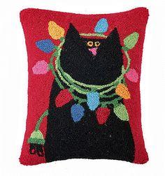 "Designer Linnea Riley Black Cat Christmas Lights - 14"" x 18"" Wool Hooked Pillow"