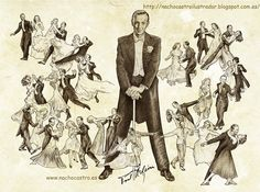 "Fred Astaire,illustration from the book ""Hombres de Hollywood"".Nacho Castro.Diábolo ediciones"
