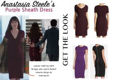 fifty shades anastasia anna purple wine business meeting dress zipper dakota johnson