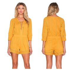 Tularosa Balboa Playsuit Light-weight beach style romper. + 100% cotton. + Front lace-up tie closure. + Back hidden zipper closure. + Side slant pockets. + Lace trim panels throughout.                                 🗣Price back to $50 after sale🗣 Tularosa Pants Jumpsuits & Rompers