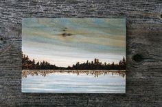 Blue Skies Wood burning Art Landscape by TwigsandBlossoms