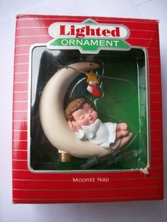 1988 Hallmark Collectible Napping Baby on the Moon -- Christmas Ornament