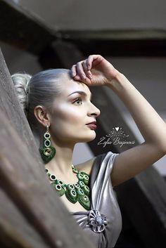 Ridgways / Náušnice Green/Silver heart...vyšívané