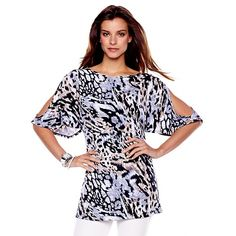 IMAN Global Chic Summer Crush Printed Tunic Comfort Top