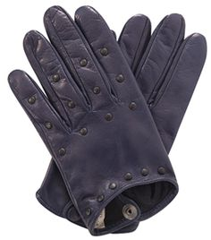 These dark-blue leather gloves are slim-fitting and have a single buttoned fastening at the wrist.    The gloves are cropped to the wrist and have a matt-black studded detail. #matchesfashion