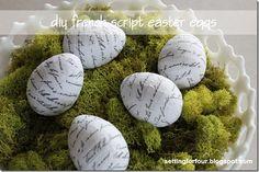 DIY French Script Easter Eggs.