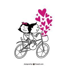 Romantic couple on bike Free Vector