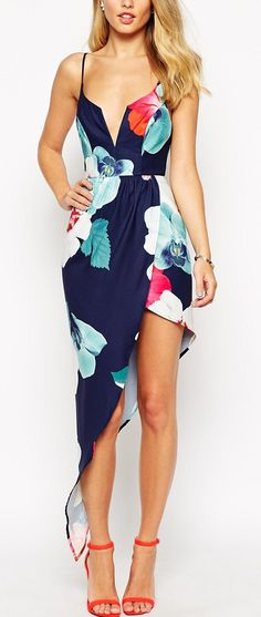 Asymmetrical Floral Dress