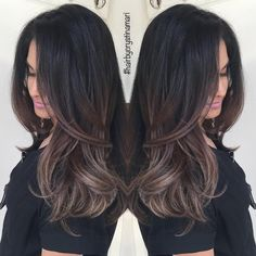 "164 Likes, 27 Comments - ✂️#hairbycrystinamari (@crystinamari) on Instagram: ""Darkened Aliah's #balayage to a natural ash brown. Welcoming her fall look early this year.…"""