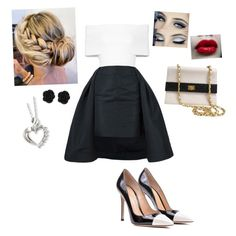 """Black & White"" by the-ravenclaw-princes ❤ liked on Polyvore featuring Vera Wang, Rosetta Getty, Gianvito Rossi and Chanel"