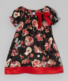Red & Black Floral Silk Dress - Infant, Toddler & Girls by Dreaming Kids on #zulily!