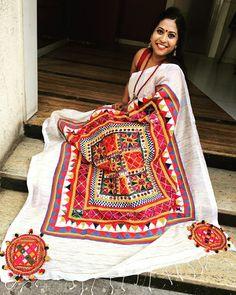 Kutch work on Tussar saree