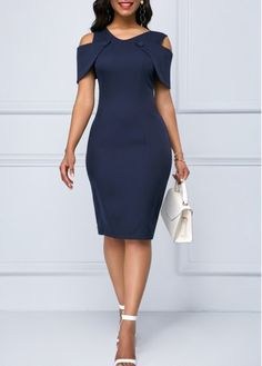 Women's M - 2 XL Navy Blue Cold Shoulder Lace Patchwork Sheath Dress w/Back Slit Women's Fashion Dresses, Sexy Dresses, Cute Dresses, Sheath Dresses, Fashion Clothes, Pretty Dresses For Women, Awesome Dresses, Trendy Dresses, Summer Dresses