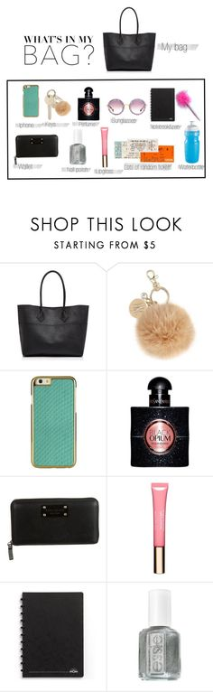 """""""Whats in my bag?"""" by basja ❤ liked on Polyvore featuring Rebecca Minkoff, INC International Concepts, Yves Saint Laurent, Kate Spade, Clarins, Essie, Miu Miu and inmybag"""
